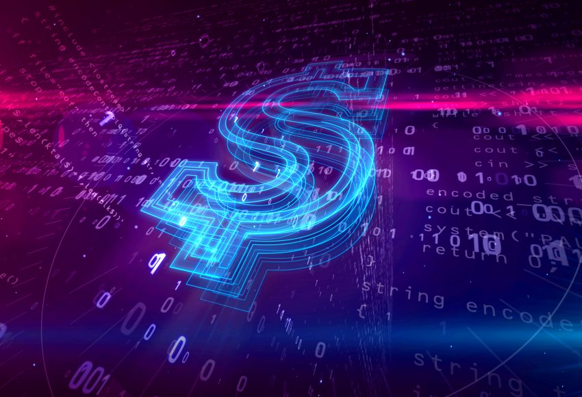Dollar sign on digital background denoting Cyber Security Investment